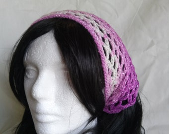 Pink/White Sparkle Crochet Kerchief