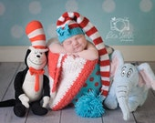 Knit Baby Hat, Dr. Suess Stocking Elf Newborn, RTS Knitted Infant Photo Prop, Red, Blue, White, All Sizes, LONG tail, Pixie Ready TO Ship