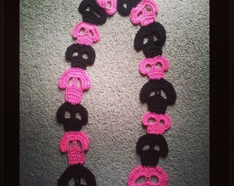 Sugar Skull Crochet Scarf