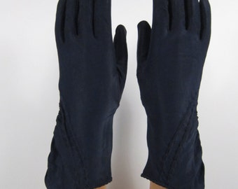 6-7-Vintage Womens Dark Blue Dress/Church/Prom Gloves - 10-11 inches long(369g)