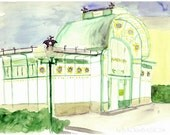 Karlsplatz Subway Station, Vienna, Austria, Fine Art Print, Architecture, yellow, green, urban decoration, city, original watercolor print