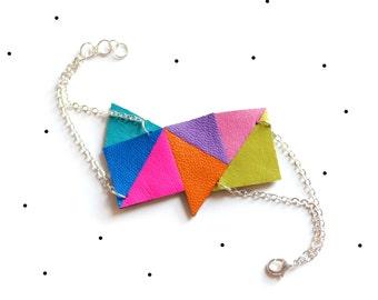 Leather Jewelry Colorful Geometric Bracelet, Leather Cuff Bracelet Leather Bracelet Womens Cuff Modern Bracelet Triangle Bracelet Under 50