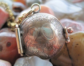 France 20 Centimes Locket Pendant MADE TO ORDER.