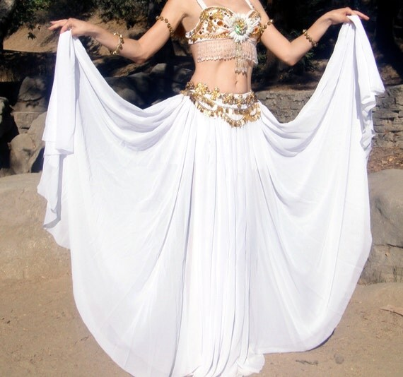 "Ameynra Belly Dance SKIRT, DOUBLE CIRCLE White Chiffon (from 60"" wide) Sizes S M L New"