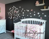 Wall Decal Nursery Wall Decals Tree Decal With Birds and Butterflies 1023