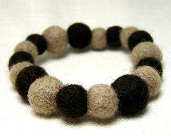 Felted Bead Stretch Bracelet, Tan & Brown Needle Felted Accessory, Jewelry for Charity