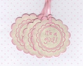 20 It's A Girl Baby Shower Favor Tags, Baby Girl Favor Gift Tags, New Baby Labels, Pink Baby Girl Tags