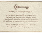 Wedding Wish Tree Tags / Advice Cards Instruction Sign - Key To A Happy Marriage Vintage Style / Personalized