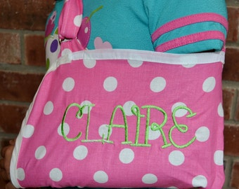 Bright Pink and White Polka Dot Child's Arm Sling with Name or Monogram
