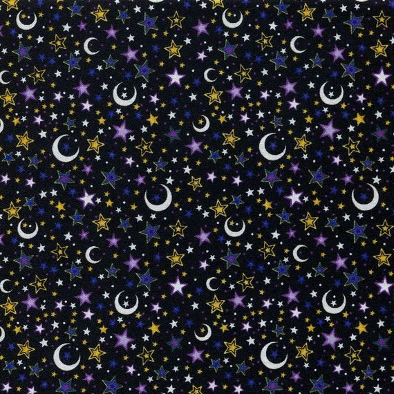 Enchanted kingdom starry night sky rjr fabric half yard for Night sky material