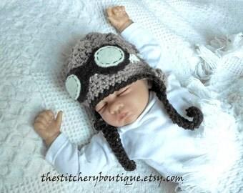 Baby aviator hat  goggles newborn boy rockateer pilot hat photo prop hat taupe brown tweed wool crochet