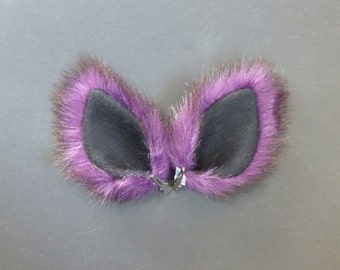 Purple and Black Fur Ears Wolf Dog Coyote Cat Costume Halloween Cosplay