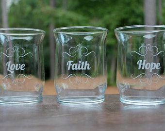 "4"" Hurricane Vases, Love Hope Faith, set of 3"