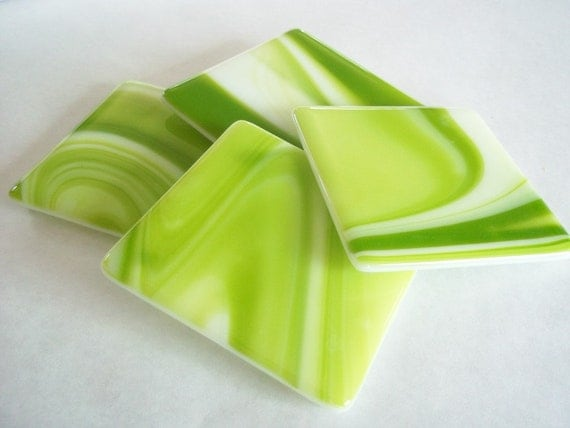 RESERVED FUSED GLASS Coasters - Bright  Lime Swirl Fused Glass Coasters - Set of 5, Spring Coasters, Lime Green Coasters, Glass