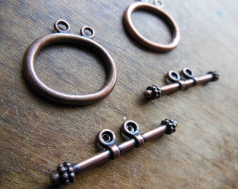 Set of 2 Large Bronze Copper Toned Metal Steampunk Toggles Toggle Industrial