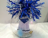 Cheerleader ornament, Leader glass globe keepsake, personalize it with cheerleader's name