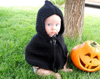 Hand Knit  Baby BLACK poncho with hood  pure soft  wool 12 - 18 m  or pick  size Toddler Infant Halloween costumes   Proudly made in America