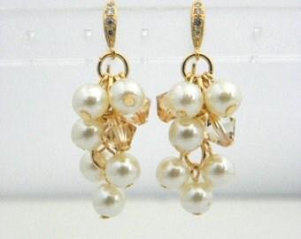 Pearl Cluster Earrings, Pearl Bridal Earrings Pearl, Champagne Pearl Earring, Pearl Wedding Jewelry, Swarovski Pearl Earring, Gold Earring