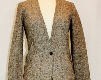 1970's Brown jacket Tweed Wool Suit Vintage Retro 70s Fitted Preppy Hipster Handmade Size Small