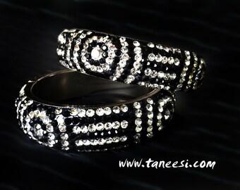 BLACK Stacking Bangle Bracelets,Stack Bracelet, Black  bangle, crystal jewelry,wedding jewelry, bridal bracelets by Taneesi Jewelry
