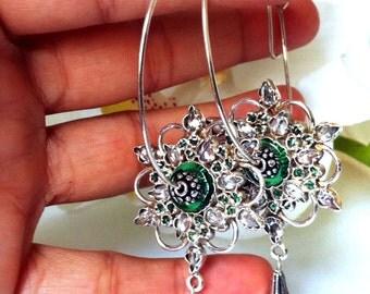 Silver HOOP Earring,Large handmade 925 Silver earring,Sterling Silver Earrings,Flower Hoop earrings, Hammered Sterling Hoops Taneesi Jewelry