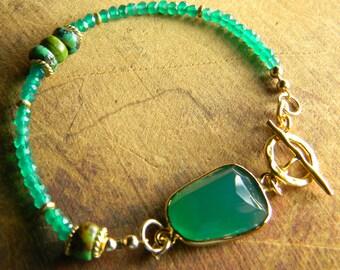 Green Onyx Bracelet Gold Vermeil Rustic Beaded Jewelry