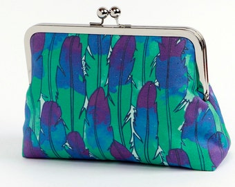 Sale-Cosmetic bag, Feathers clutch, Geometric clutch, Party clutch, Formal purse, Art Nouveau, Bridesmaids gift, Bridesmaids clutch, BagNoir