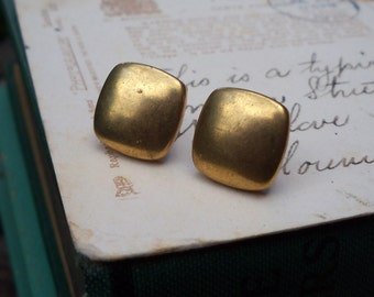 brass earrings / brass jewelry / vintage jewelry / BRASS SQUARES