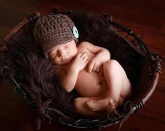 Baby Boy Hat, Newborn Crochet Hat for Baby Boys, Crochet Baby Hats, Baby Boy Newsboy Hat, Brown Newborn Boy Hat with Button, Newborn Size