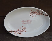 Custom Oval Anniversary Signature Guestbook Platter - Personalized with Cherry Blossoms - Pink and Gold Flowers