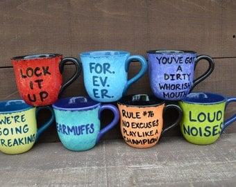 LOUD NOISES - 14 oz. Handpainted Ceramic Coffee Mug - Anchorman - Apple Green and Navy Blue - Sale