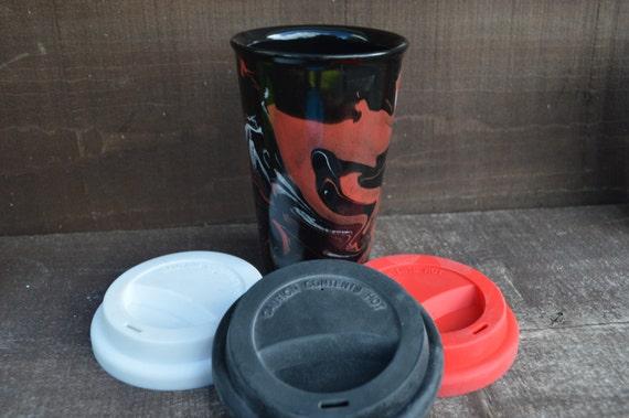 Marbled Swirls Tie Dye Ceramic Travel Mug with Silicone Lid - Black Interior