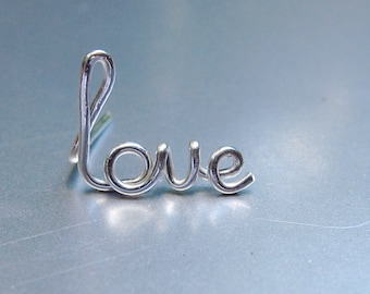 Love Earring In Sterling Silver, Word Ear Crawler, Gold Love Stud, Single Rose Gold Love Earring, Wire Word Earring, Valentine's Day Gift