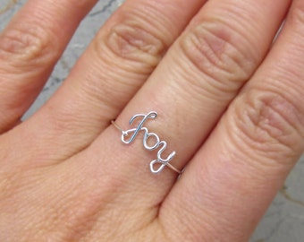 Sterling Silver Joy Ring, Wire Joy Ring, Silver Name Ring, Dainty Ring, Wire Word Ring, Bridal Party Jewelry, Valentine's Day Gift