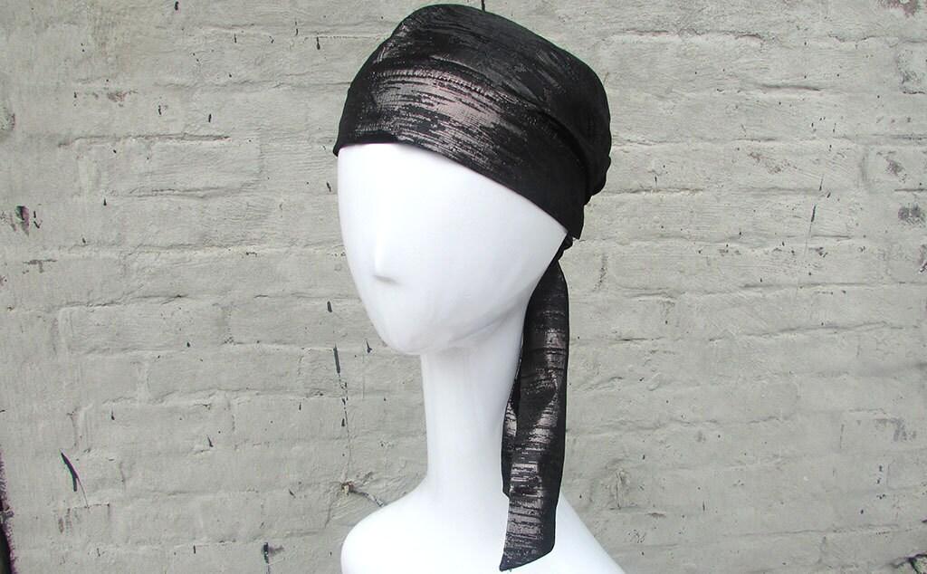 Silk Black Head Scarf 114
