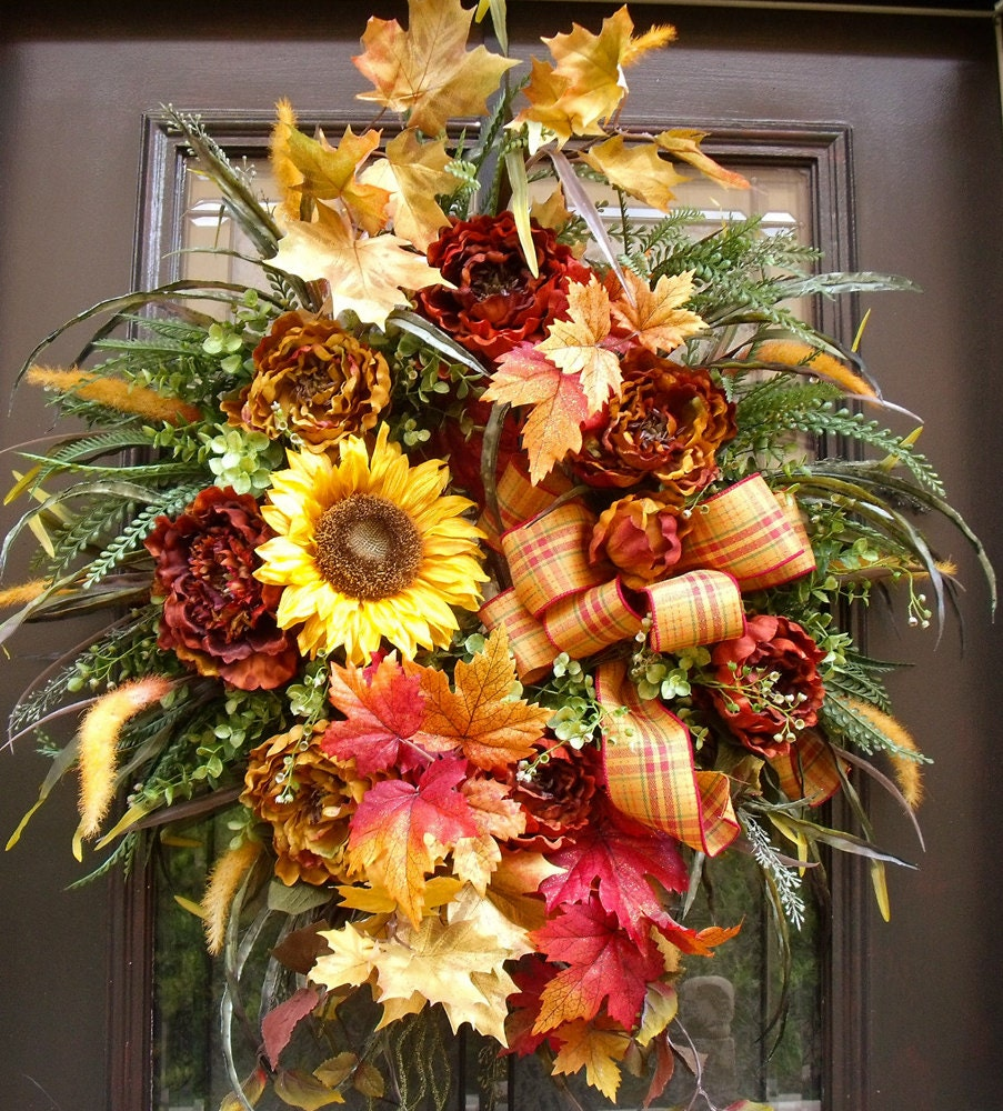 Autumn Wreaths Falling Leaves Sunflower And Peony Wreath