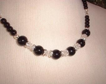 Onyx, Swarovski, and Rhinestone Necklace