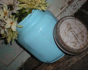 Large Vintage Glass Jar Storage Canister Aqua Blue