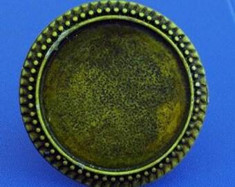 3pcs 32mm round blank tray bezel BRASS base Adjustable antique bronze ring Hr-49