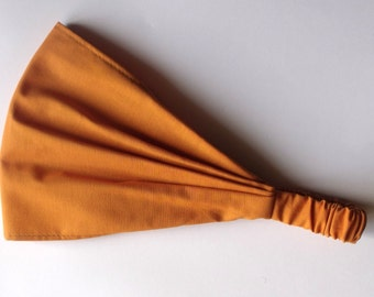 Yoga Headband - Solid Amber Kona Cotton fabric by Robert Kaufman.