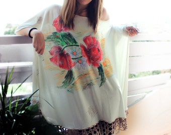 Hand Painted Cream Poncho, Painted Poppy and Daisy Flowers,  Hand Croched Lace Decorated Poncho, Made to Order
