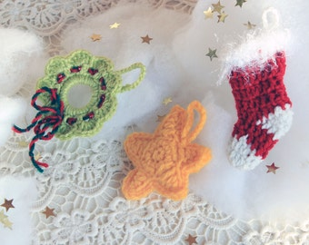 Crochet Christmas Ornamets, Crochet Christmas Star, Crochet Red Christmas Sock, Christmas Wreath, Christmas Stocking, Christmas Tree Decor