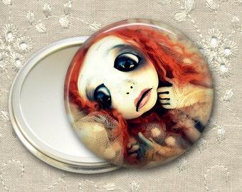 gothic doll pocket mirror,  original art  hand mirror, mirror for purse, bridesmaid gift, stocking stuffer MIR-AD53