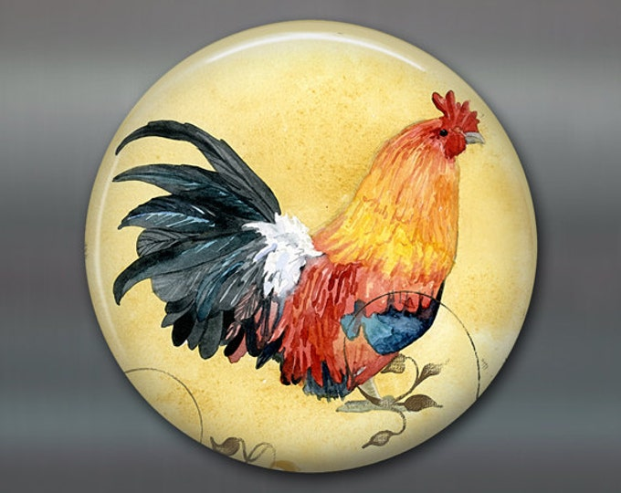 "French country decor for kitchen - rooster kitchen decor - housewarming gift for her - 3.5"" fridge magnet - round magnet - MA-705"