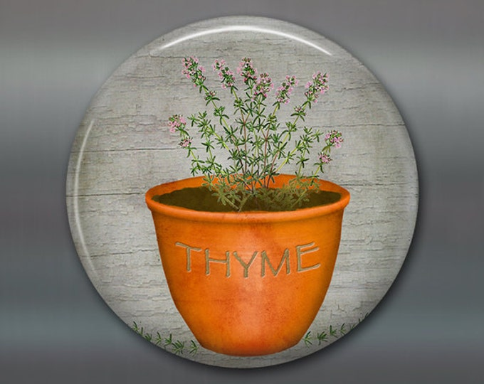 """3.5"""" thyme magnet, hand painted herb art magnet, country kitchen decor, gift for gardener, large fridge magnet, rustic decor MA-1621"""