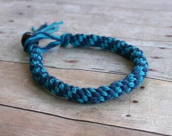 Blue Turquoise Round Hemp Bracelet