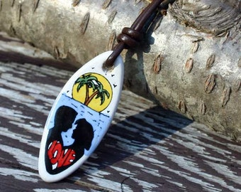 Leather Surfer Necklace With Ceramic Surfboard Beach Jewelry