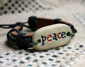 Peace Natural Leather Bracelet Brown Leather Women Leather Bracelet, Men Leather Cuff Bracelet ,Unisex Bracelet