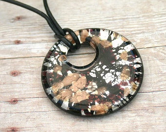 Leather Necklace with Black Foil Glass Donut