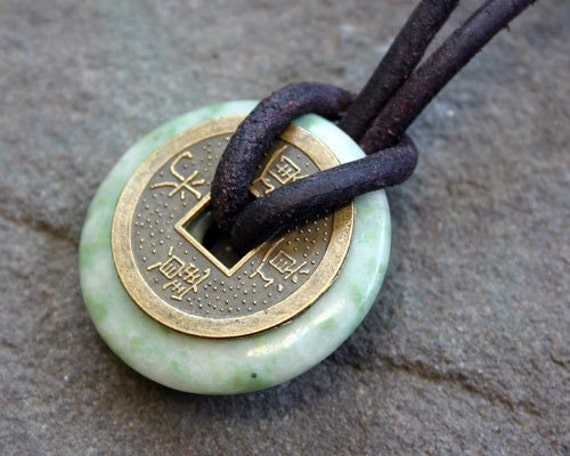 Leather necklace with peace jade and chinese lucky coin surfer description handcrafted leather cord choker necklace with peace jade gemstone donut pendant mozeypictures Choice Image